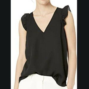 J Crew Size 4 Ruffle Sleeve V-neck Top Black